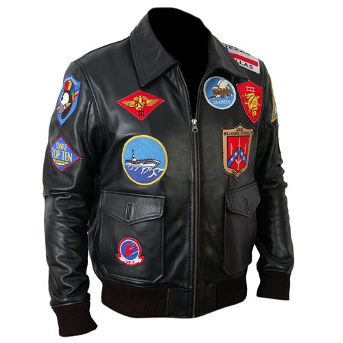 Top Gun Black Bomber Leather Jacket Leather Madness