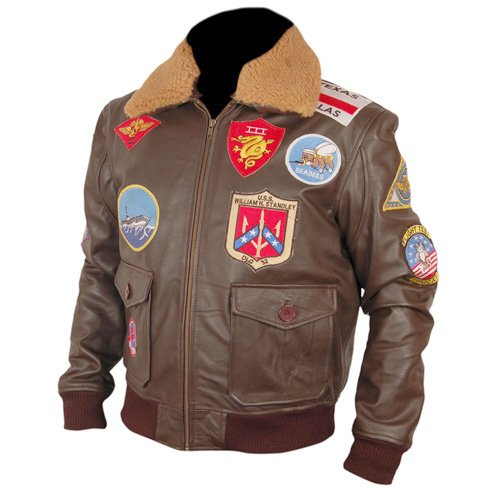 Top Gun Brown Bomber Leather Jacket