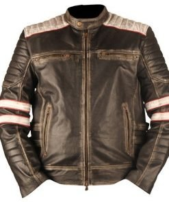 Vintage Retro 2 Motorcycle Cafe Racer Moto Distressed Black Genuine Leather Jacket