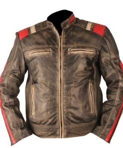 Vintage Retro Motorcycle Cafe Racer Moto Distressed Black Genuine Leather Jacket