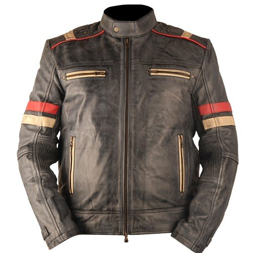 Vintage Retro Motorcycle Cafe Racer Moto Distressed Blue Genuine Leather Jacket 1