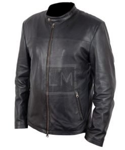 White Collar Black Genuine Leather Jacket