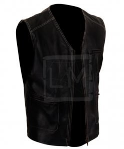 White Thread Genuine Leather Vest