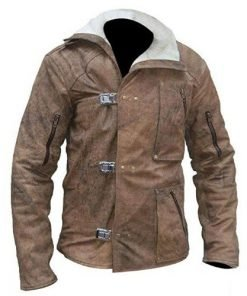 Wolfenstein 2 Distressed Genuine Leather Jacket Shearling