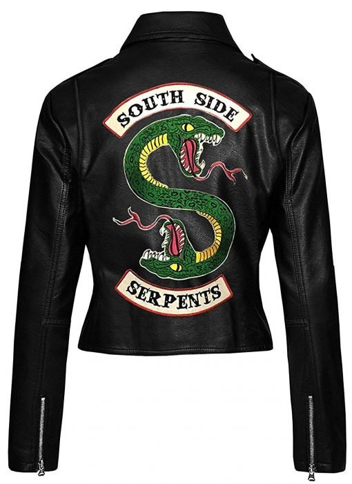 Womens Riverdale Black Genuine Leather Jacket Southside Serpents
