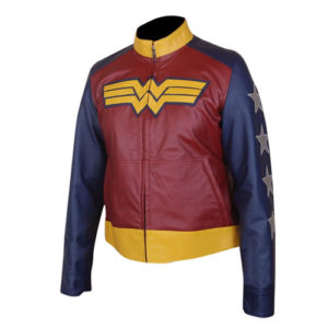 Wonder Woman Faux Leather Jacket 2-New