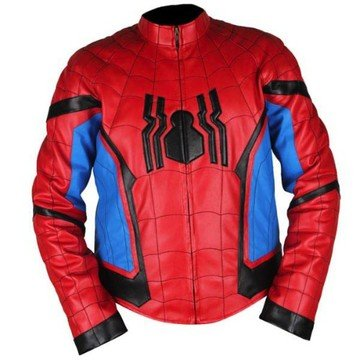 Spiderman Homecoming Red & Light Blue Genuine Leather Jacket