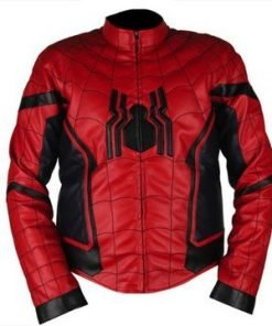 Spiderman Homecoming Red & Dark Blue Faux Leather Jacket