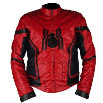 Spiderman Homecoming Red & Dark Blue Genuine Leather Jacket