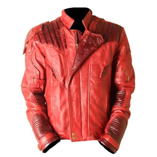Star Lord Guardians Of The Galaxy 2 Waxed Genuine Leather Jacket Red